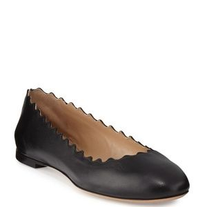 Chloe Lauren Scalloped Leather Ballet Flats Black